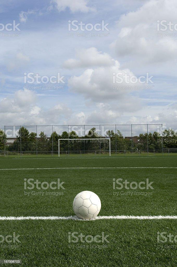 soccer ball on center spot royalty-free stock photo