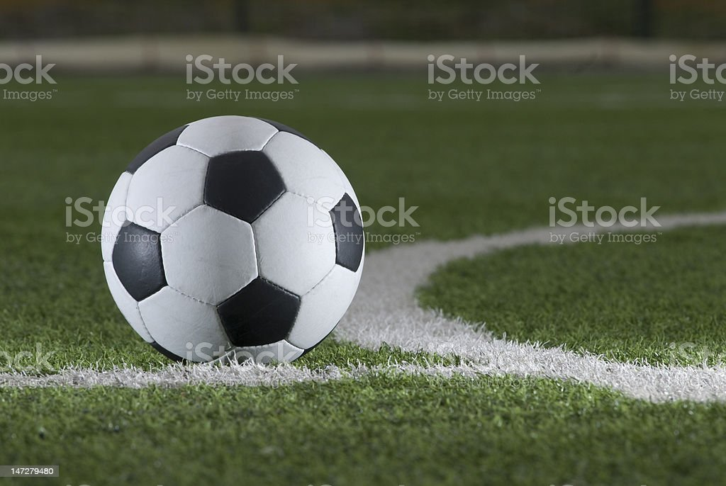 soccer ball on field royalty-free stock photo