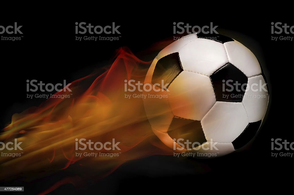Soccer Ball on fire. stock photo
