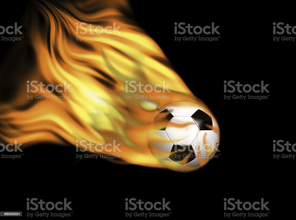soccer ball on flames royalty-free stock photo