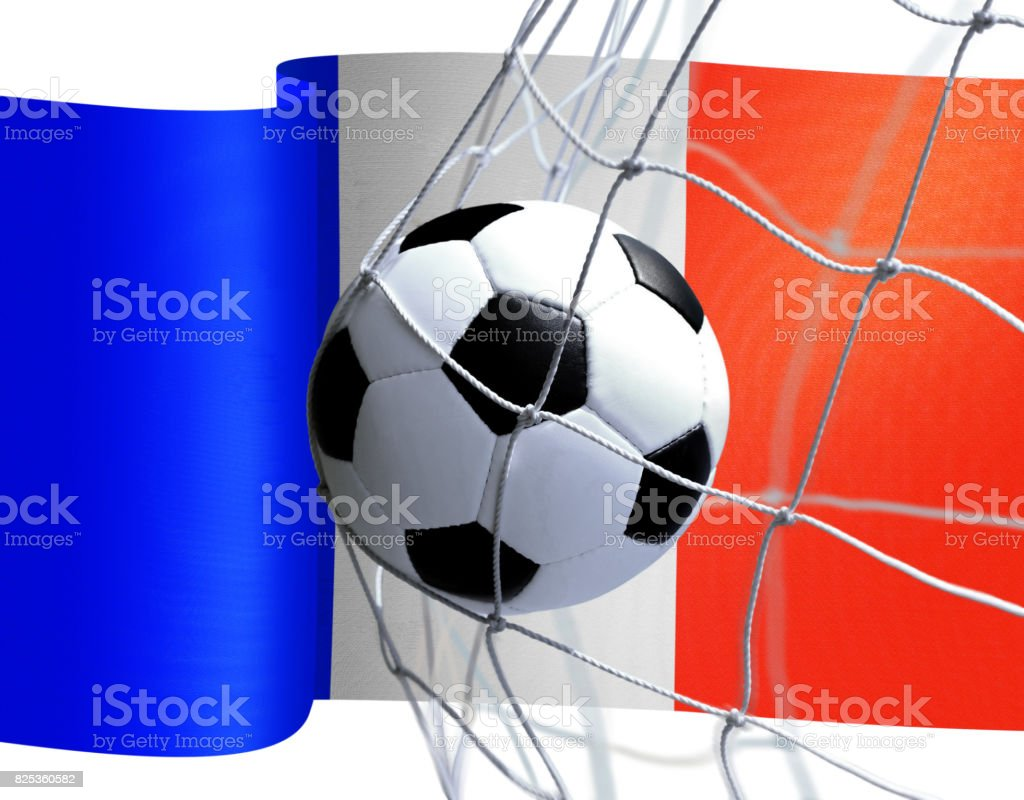 soccer ball on French flag stock photo