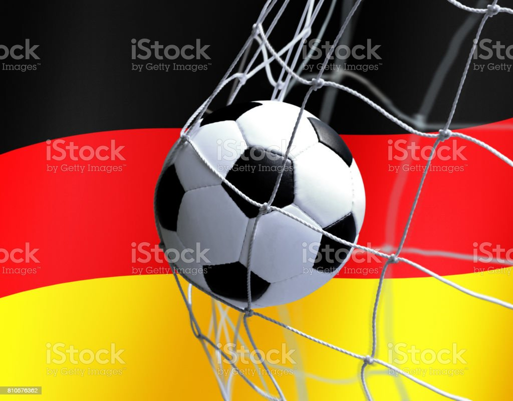 soccer ball on German flag background stock photo