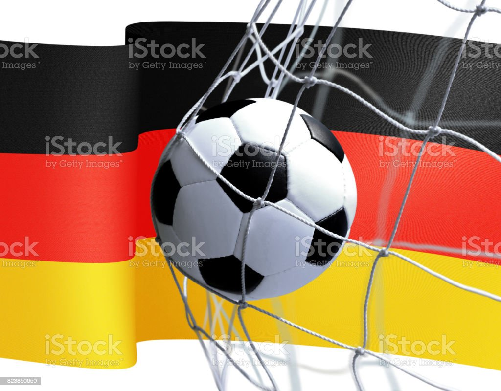 soccer ball on Germany flag stock photo
