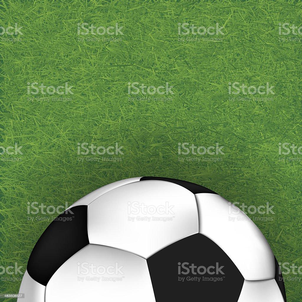 Soccer ball on grass background, illustration stock photo