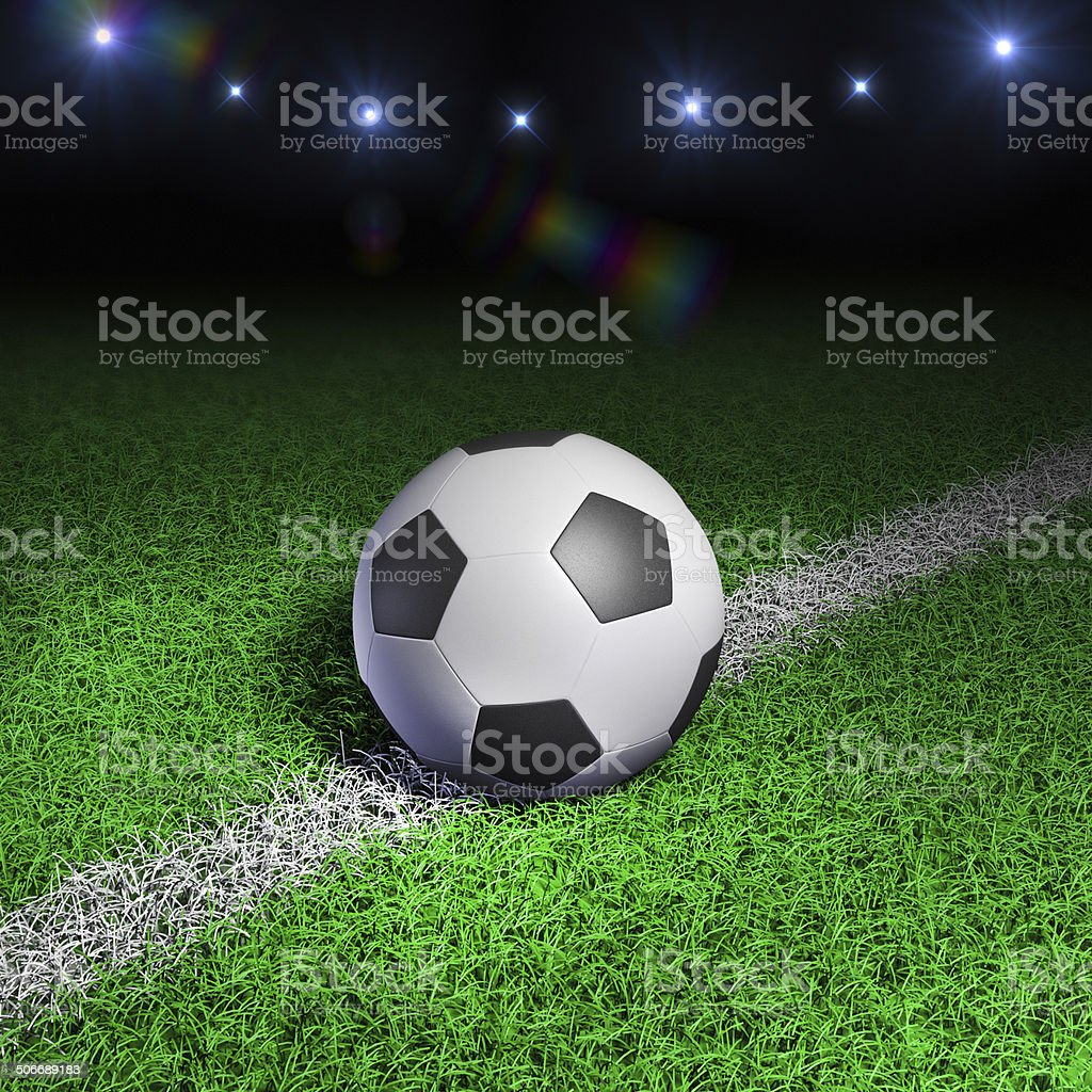 Soccer ball on grass field royalty-free stock photo
