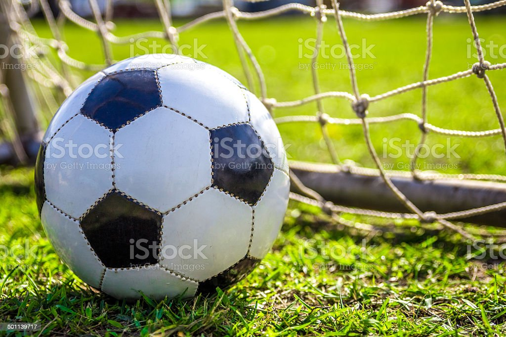 Soccer Ball on grass pad stock photo