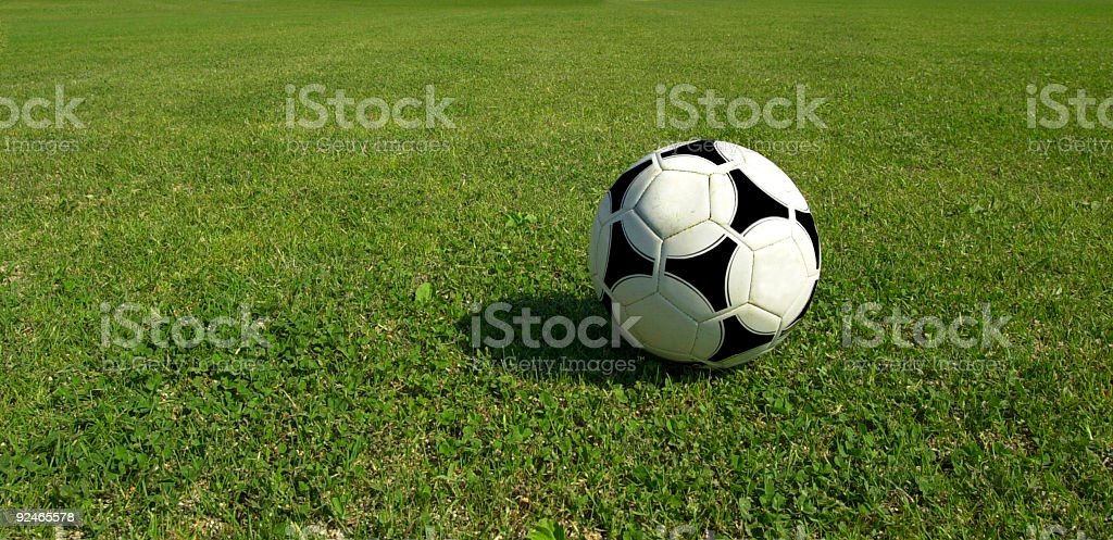 Soccer ball on grass royalty-free stock photo