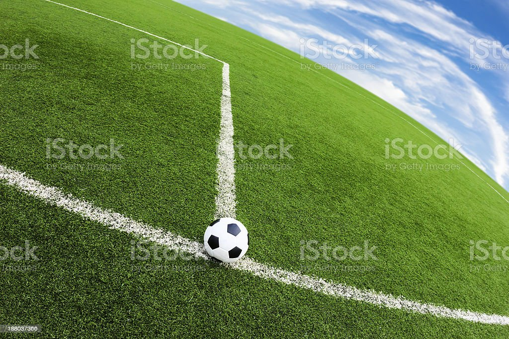 soccer ball on green grass field royalty-free stock photo