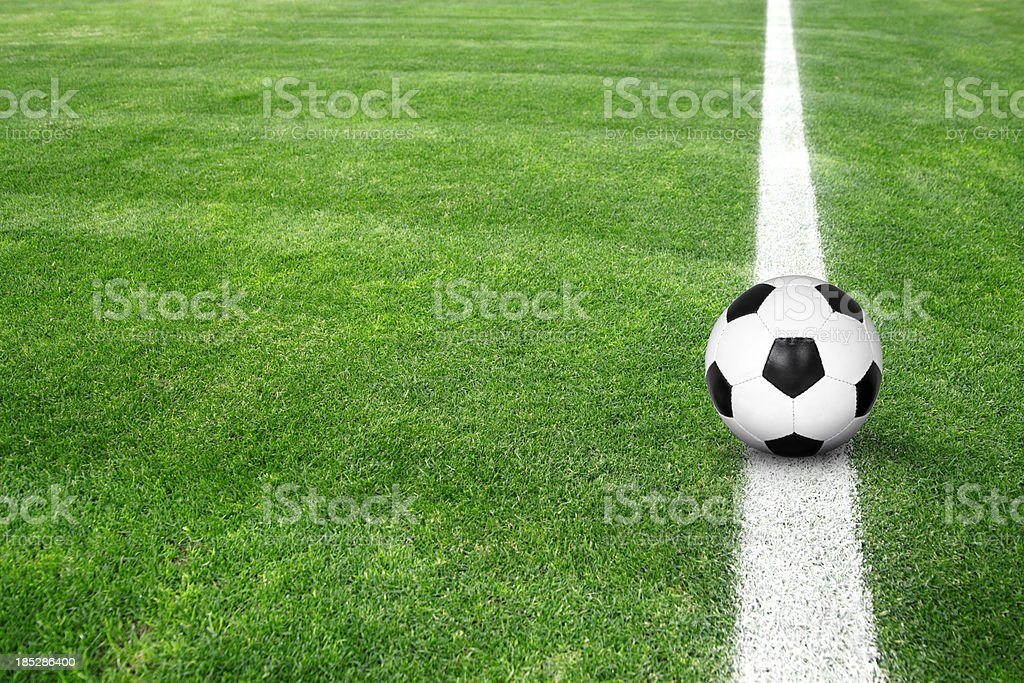 Soccer ball on green grass royalty-free stock photo