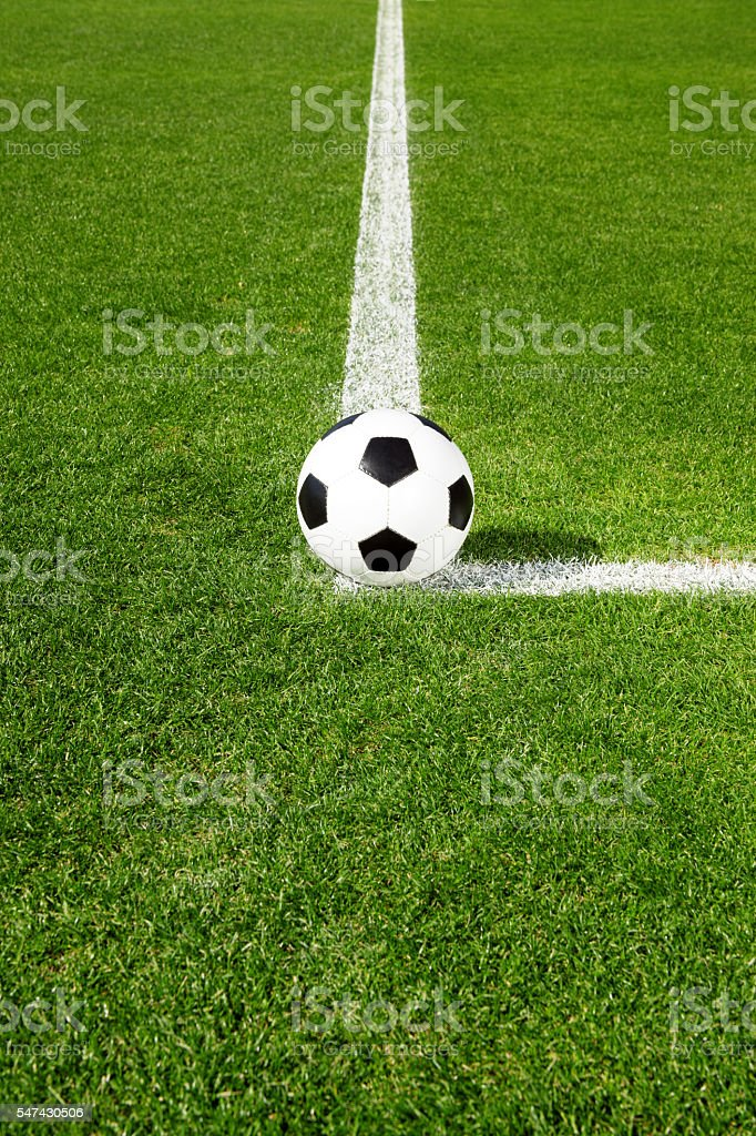 Soccer ball on green grass stock photo