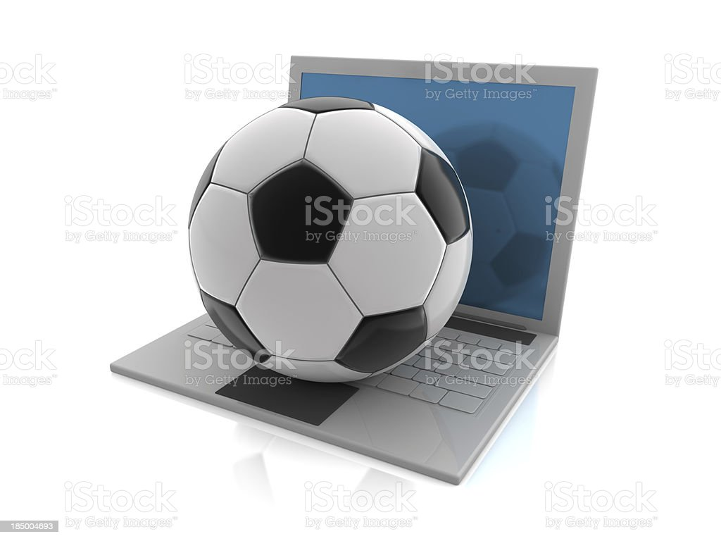 Soccer Ball on Laptop royalty-free stock photo