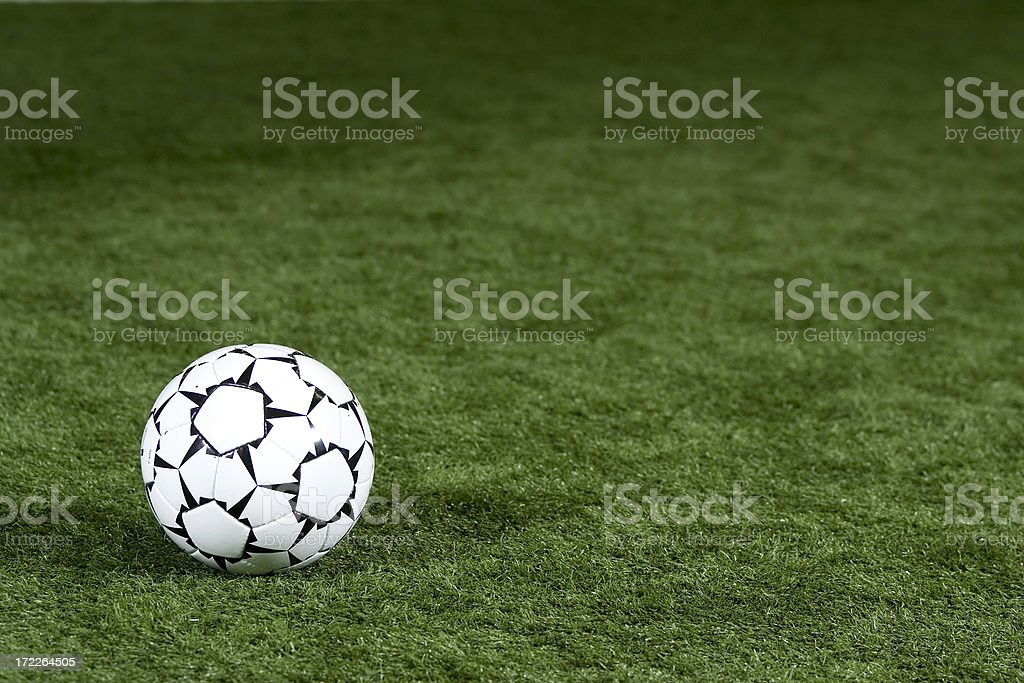 Soccer Ball on Playing Field royalty-free stock photo