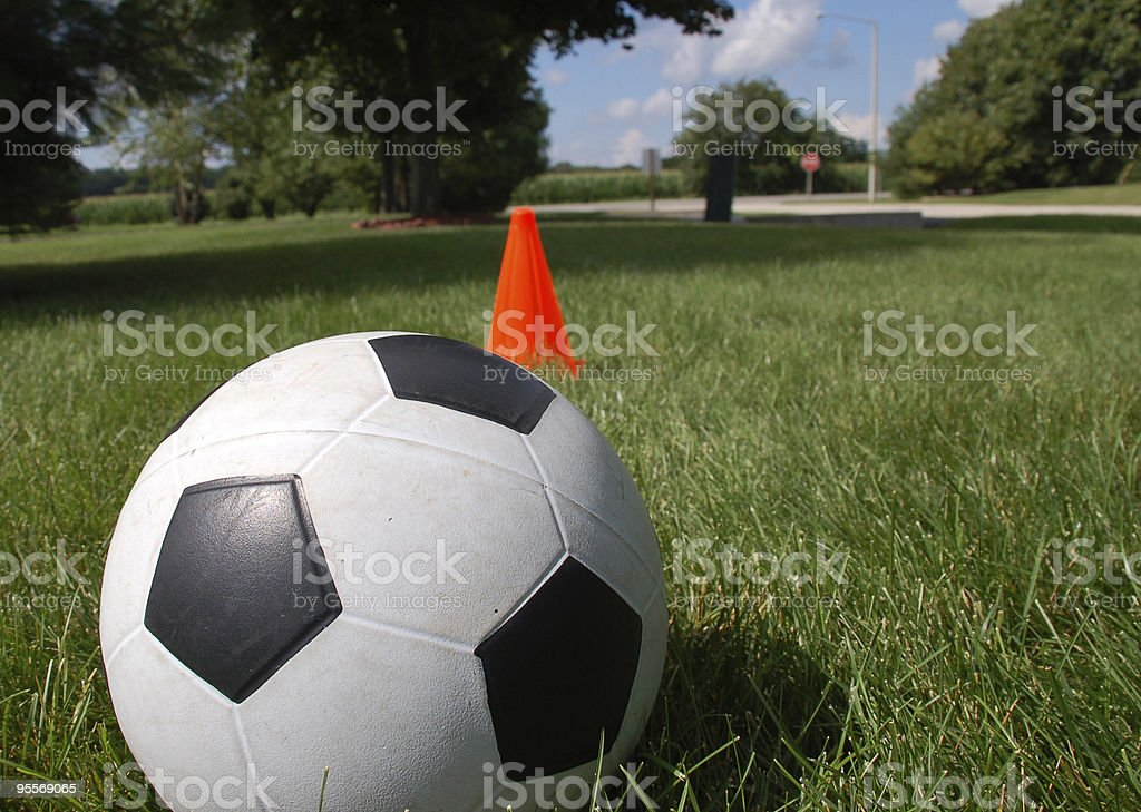 Soccer ball on suburban lawn royalty-free stock photo