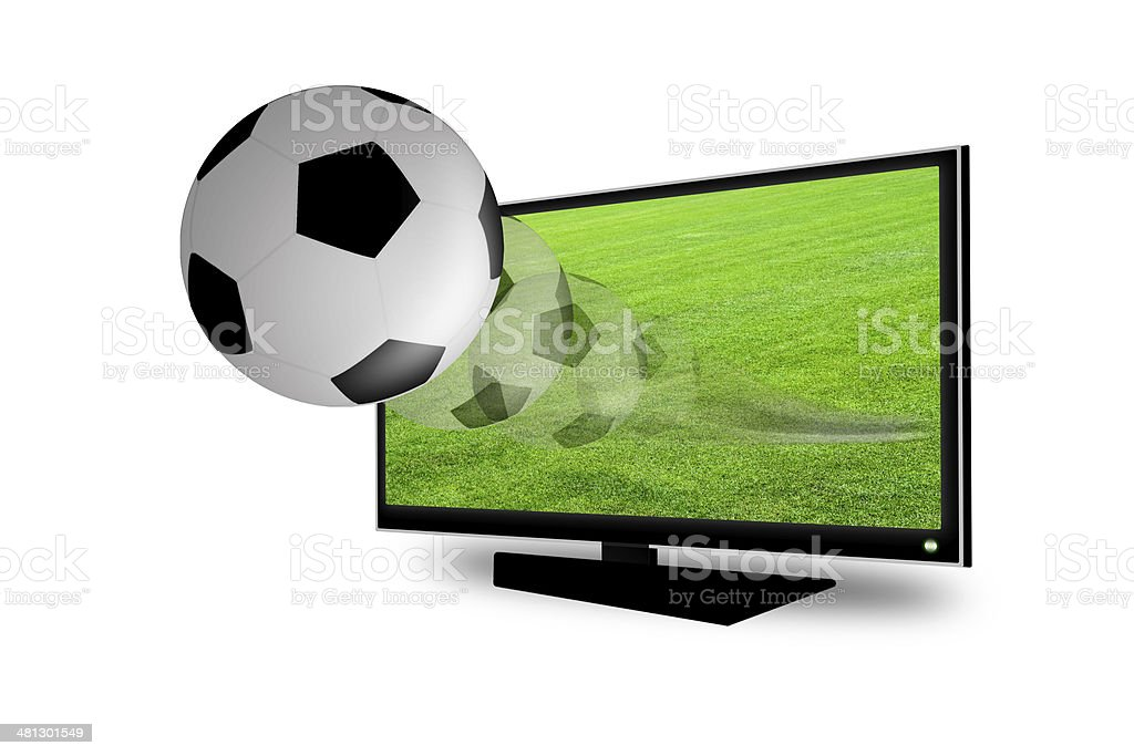 Soccer ball on the 3D television stock photo