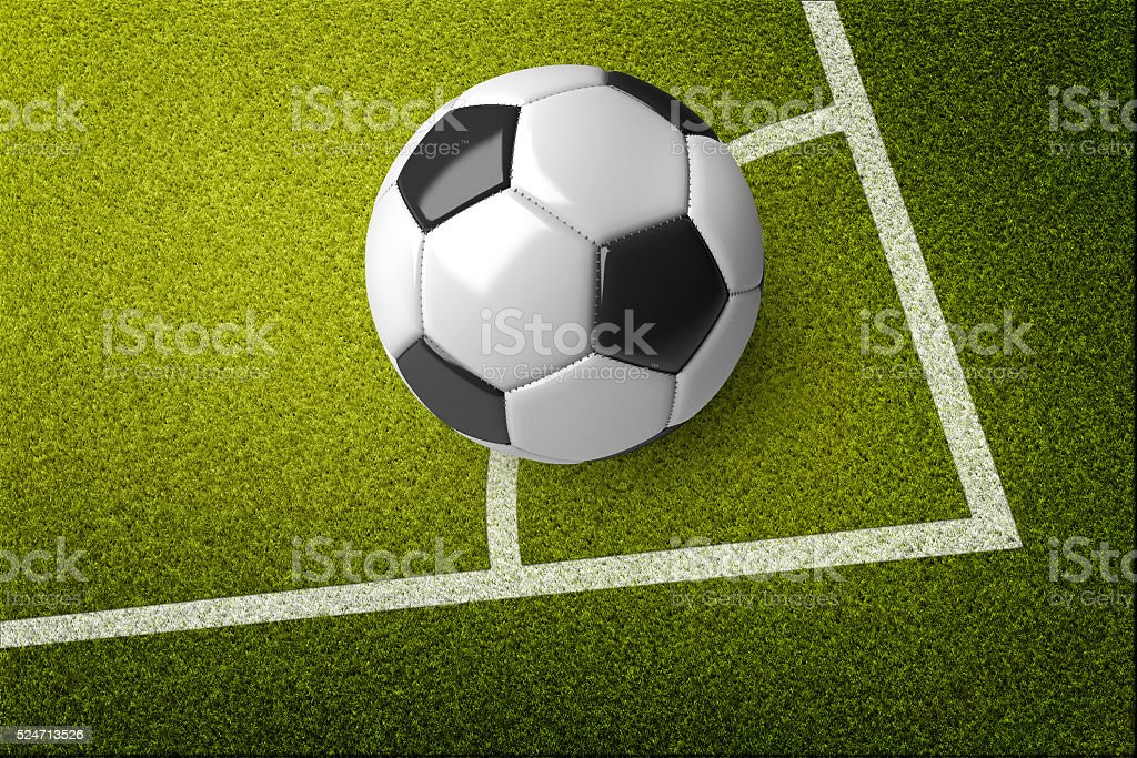 Soccer ball on the corner of the soccer field. stock photo