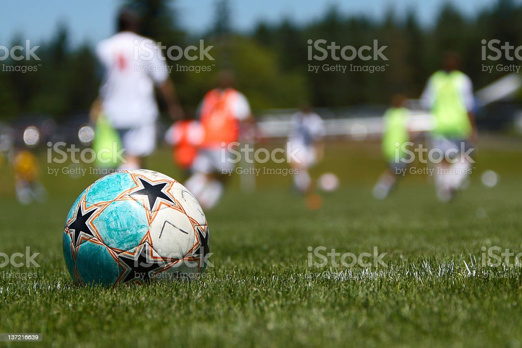 Soccer ball on the field. royalty-free stock photo