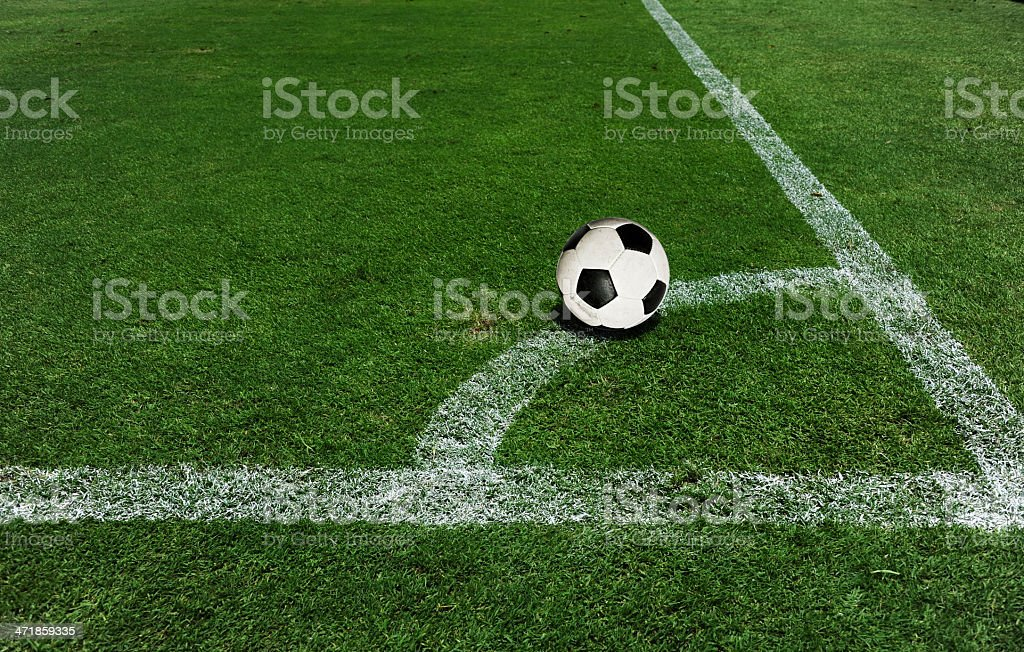 Soccer ball on the field royalty-free stock photo