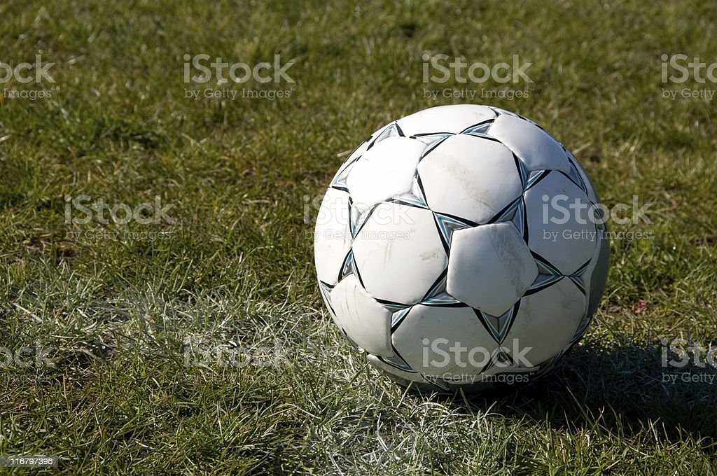 Soccer ball on the grass royalty-free stock photo