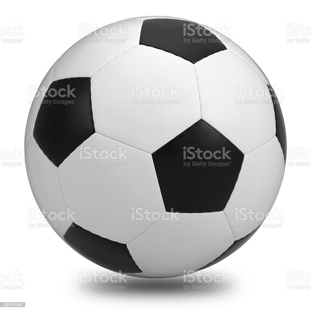 サッカーボール白を背景にしたます。クリッピングパスが含まれます。 ロイヤリティフリーストックフォト