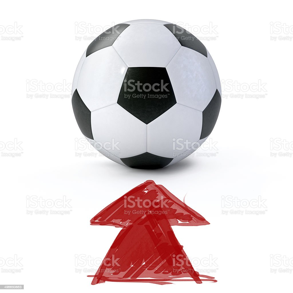 Soccer ball on white ground stock photo