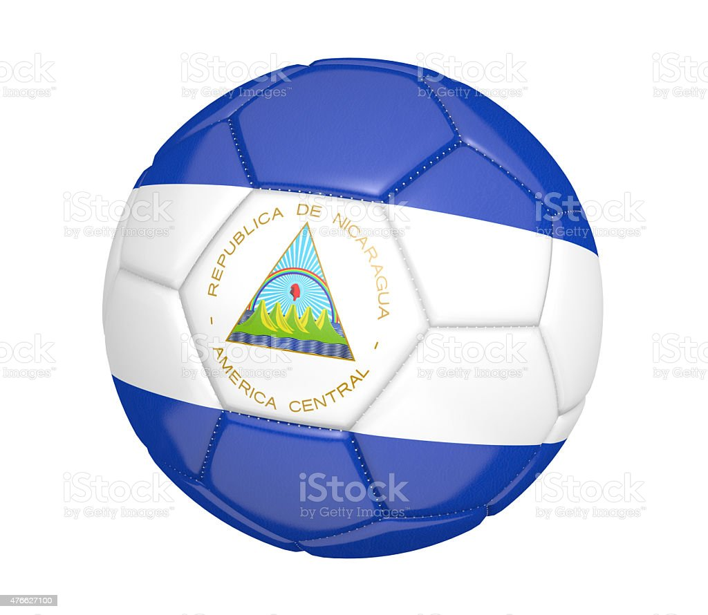 Soccer ball, or football, with the country flag of Nicaragua stock photo