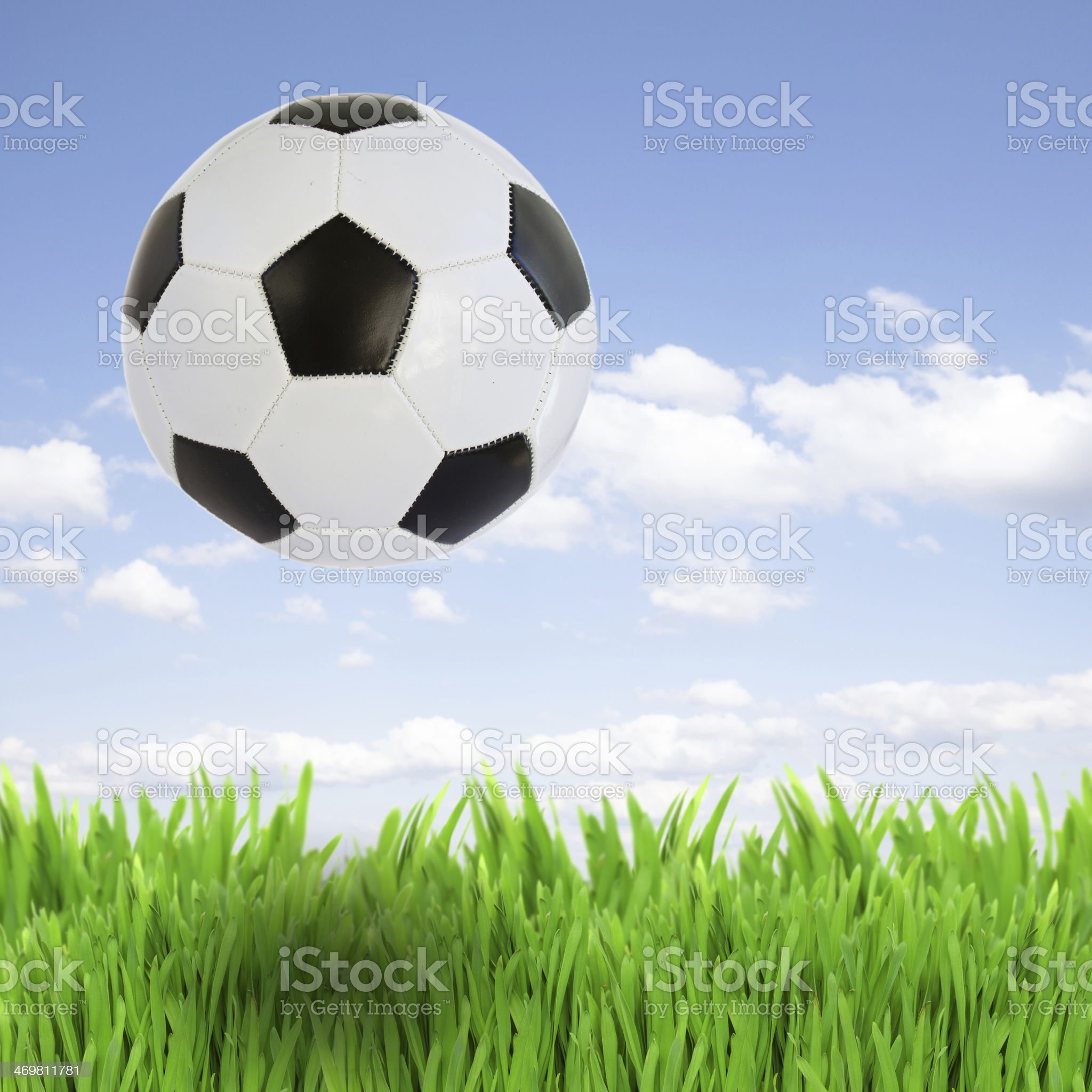 soccer ball over grass royalty-free stock photo