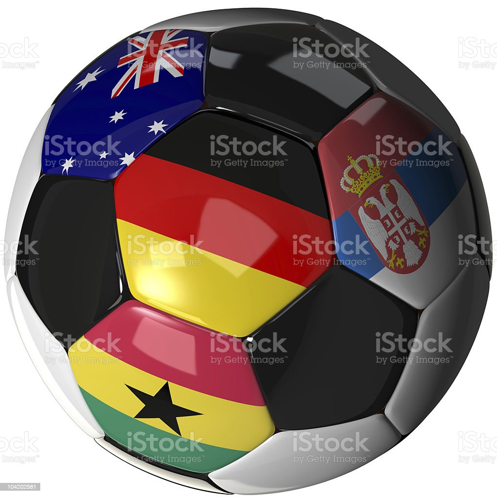 Soccer ball over white with flags of Group D, 2010 royalty-free stock photo
