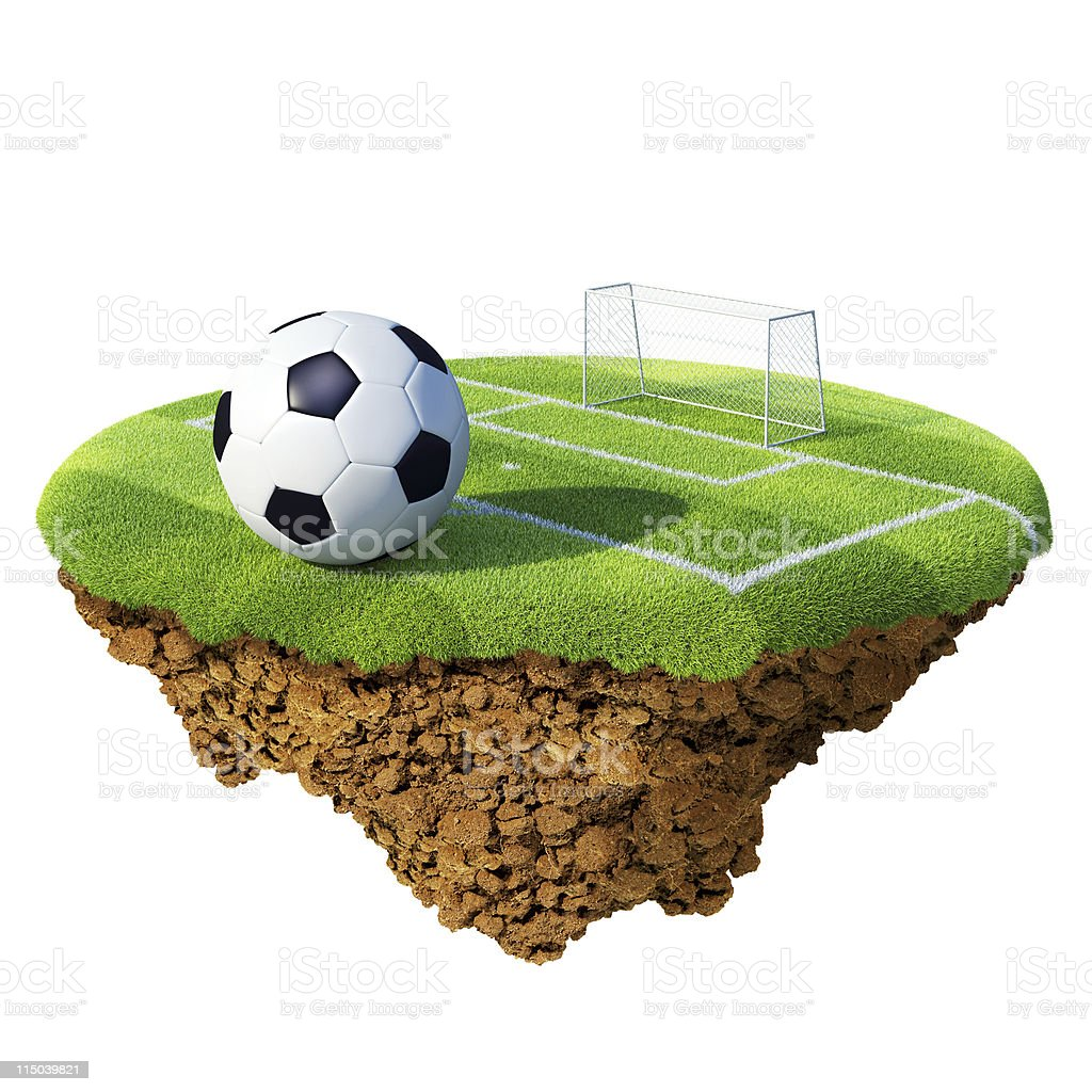 Soccer ball, penalty area and goal on little island royalty-free stock photo