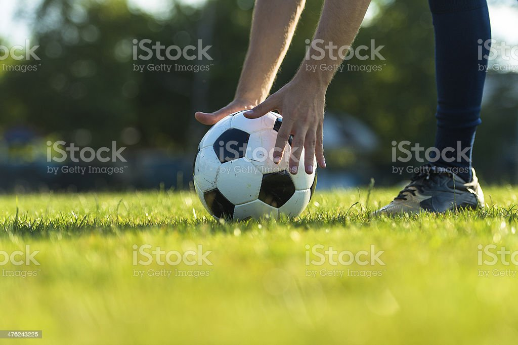 Soccer ball positioning for the free kick royalty-free stock photo