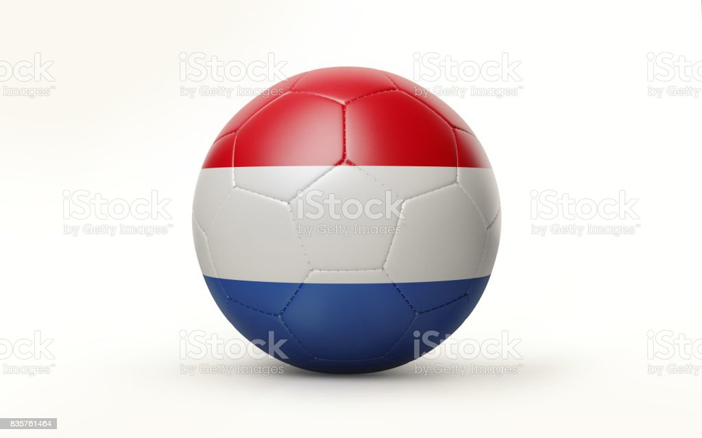 Soccer Ball Textured with Dutch Flag Isolated on White Background stock photo
