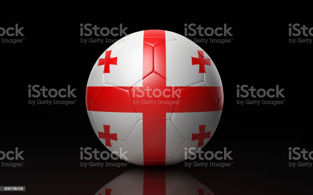Soccer Ball Textured with Georgian Flag on Black stock photo
