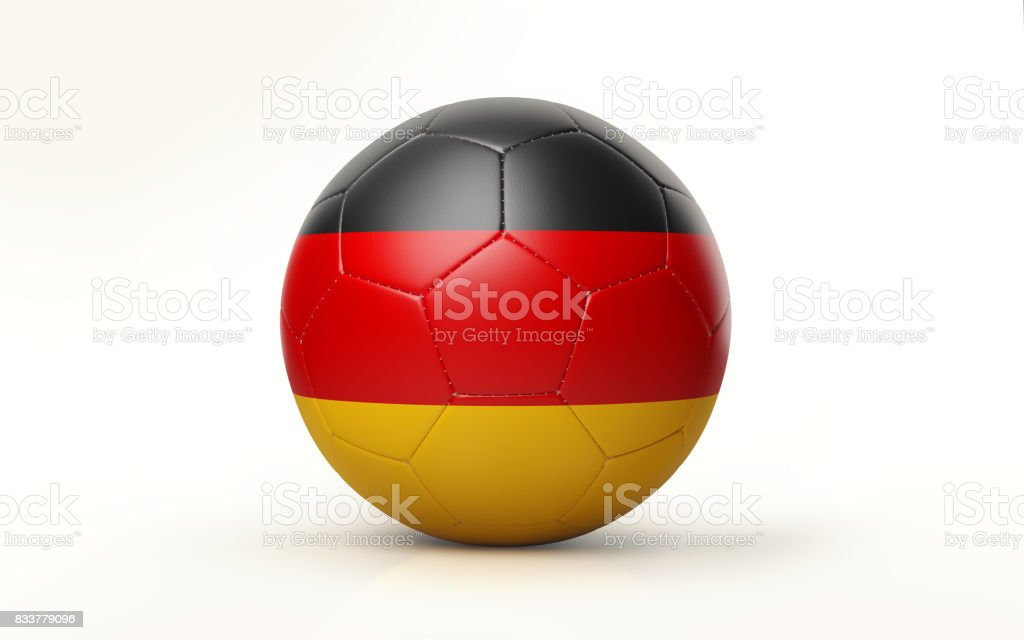 Soccer Ball Textured with German Flag Isolated on White Background stock photo