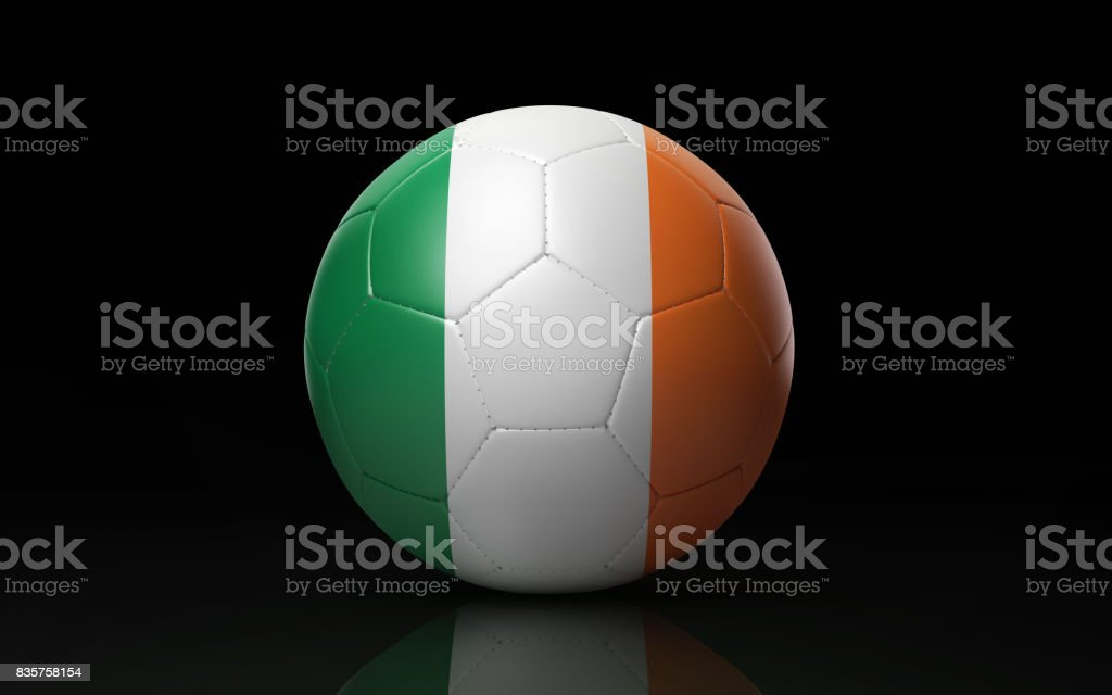 Soccer Ball Textured with Irish Flag on Black stock photo