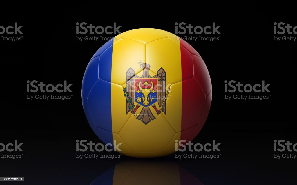 Soccer Ball Textured with Moldovan Flag on Black stock photo