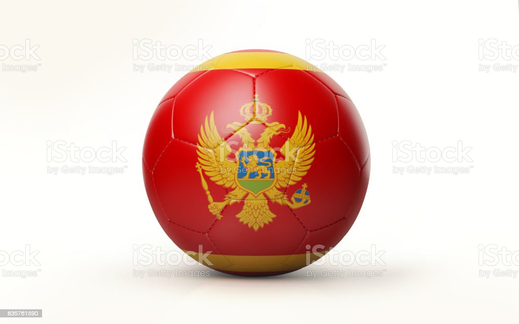 Soccer Ball Textured with Montenegrin Flag Isolated on White Background stock photo