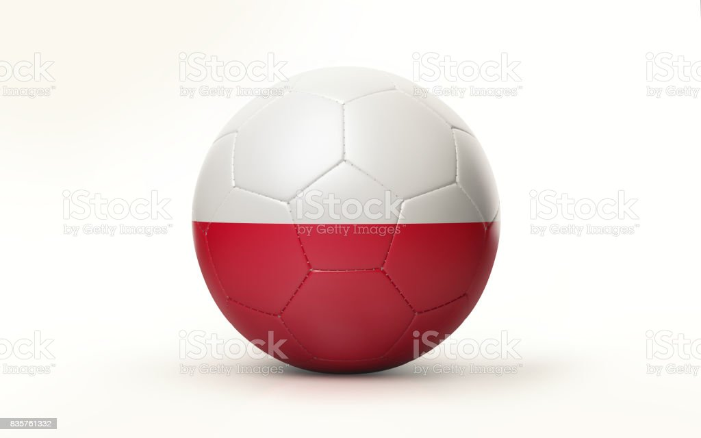 Soccer Ball Textured with Polish Flag Isolated on White Background stock photo
