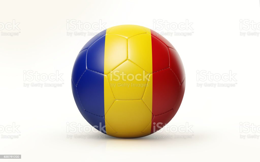 Soccer Ball Textured with Romanian Flag Isolated on White Background stock photo