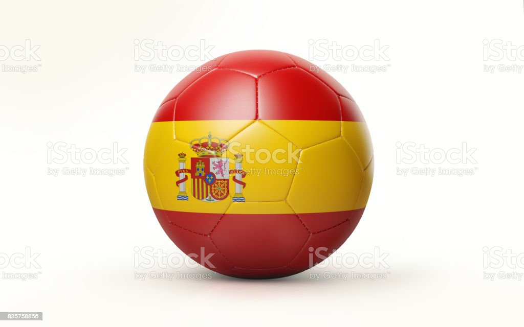 Soccer Ball Textured with Spanish Flag Isolated on White Background stock photo