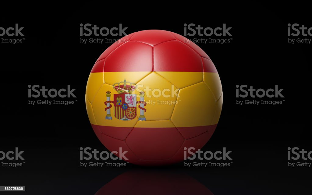 Soccer Ball Textured with Spanish Flag on Black stock photo