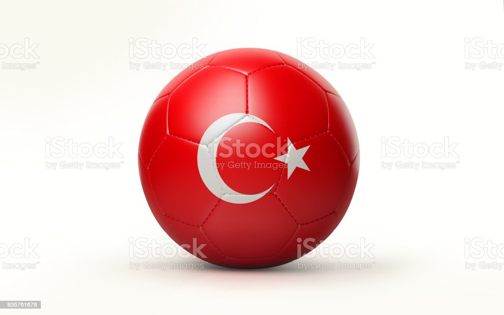 Soccer Ball Textured with Turkish Flag Isolated on White Background stock photo