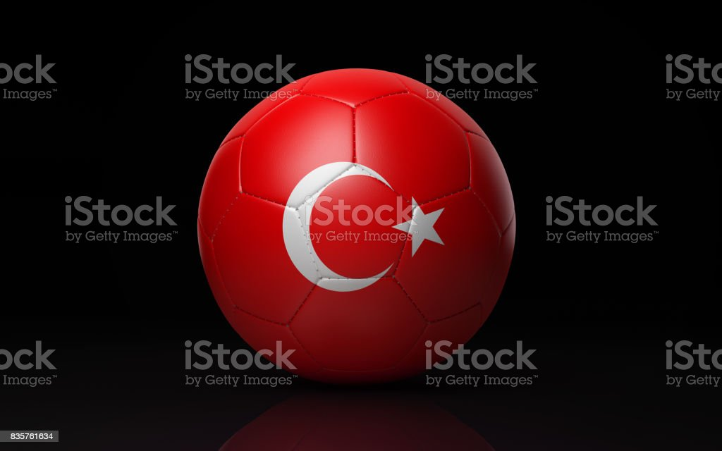 Soccer Ball Textured with Turkish Flag on Black stock photo