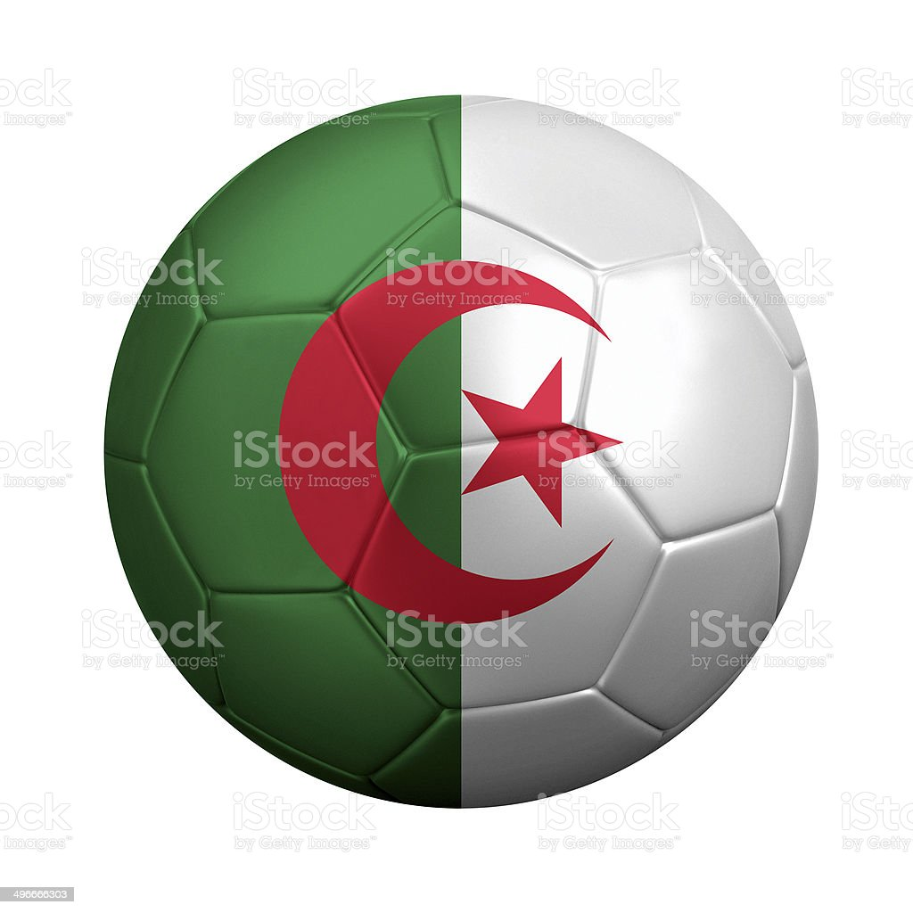Soccer Ball With Algerian Flag Isolated on White stock photo