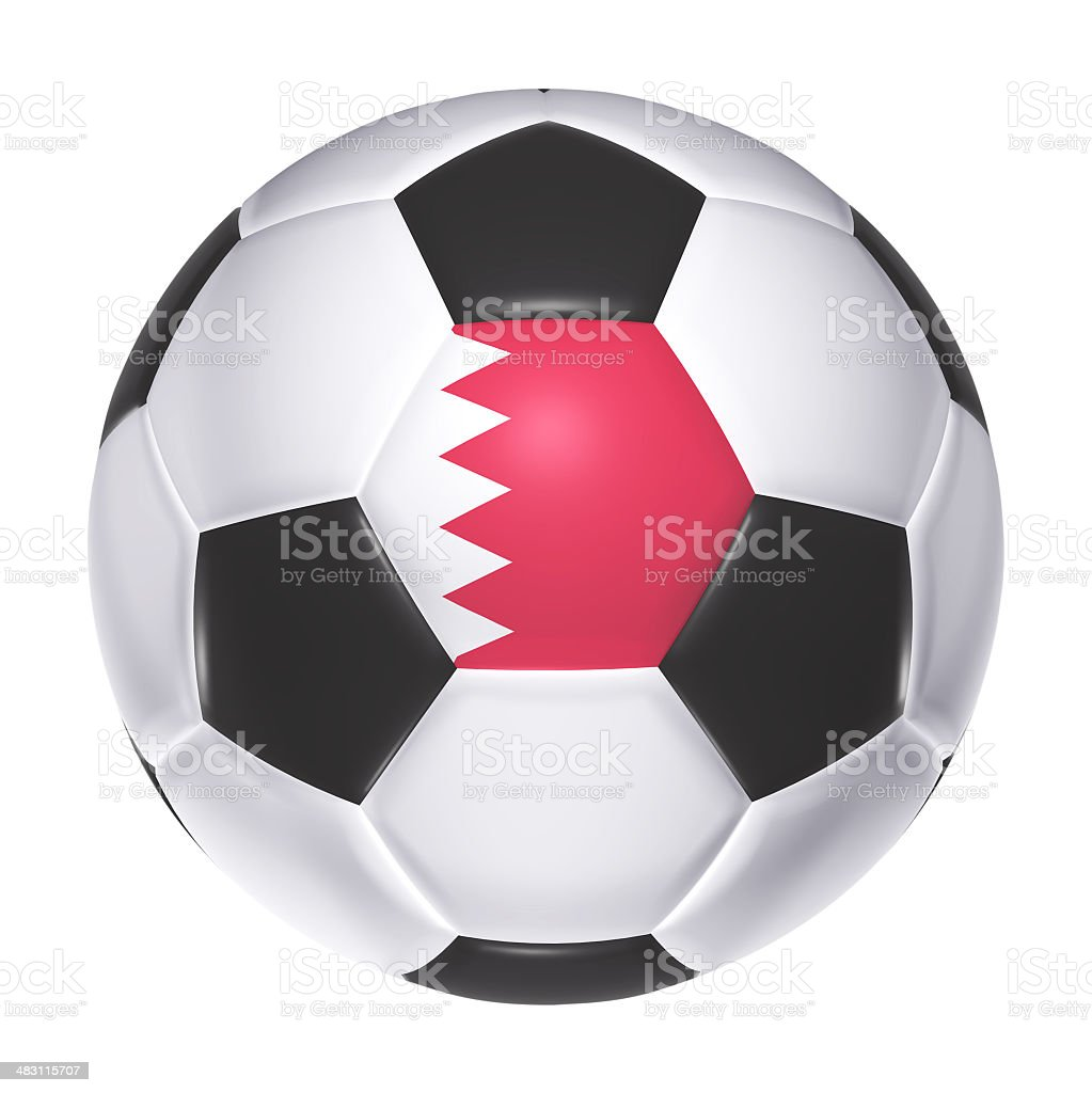 Soccer ball with Bahrain flag stock photo