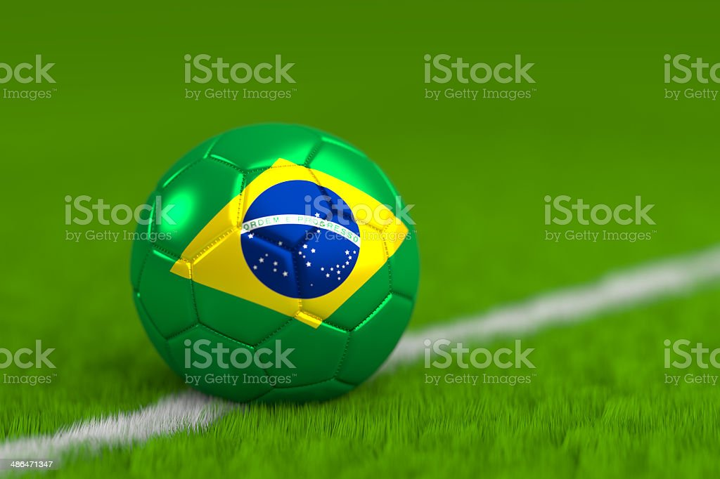 soccer ball with brazilian flag royalty-free stock photo