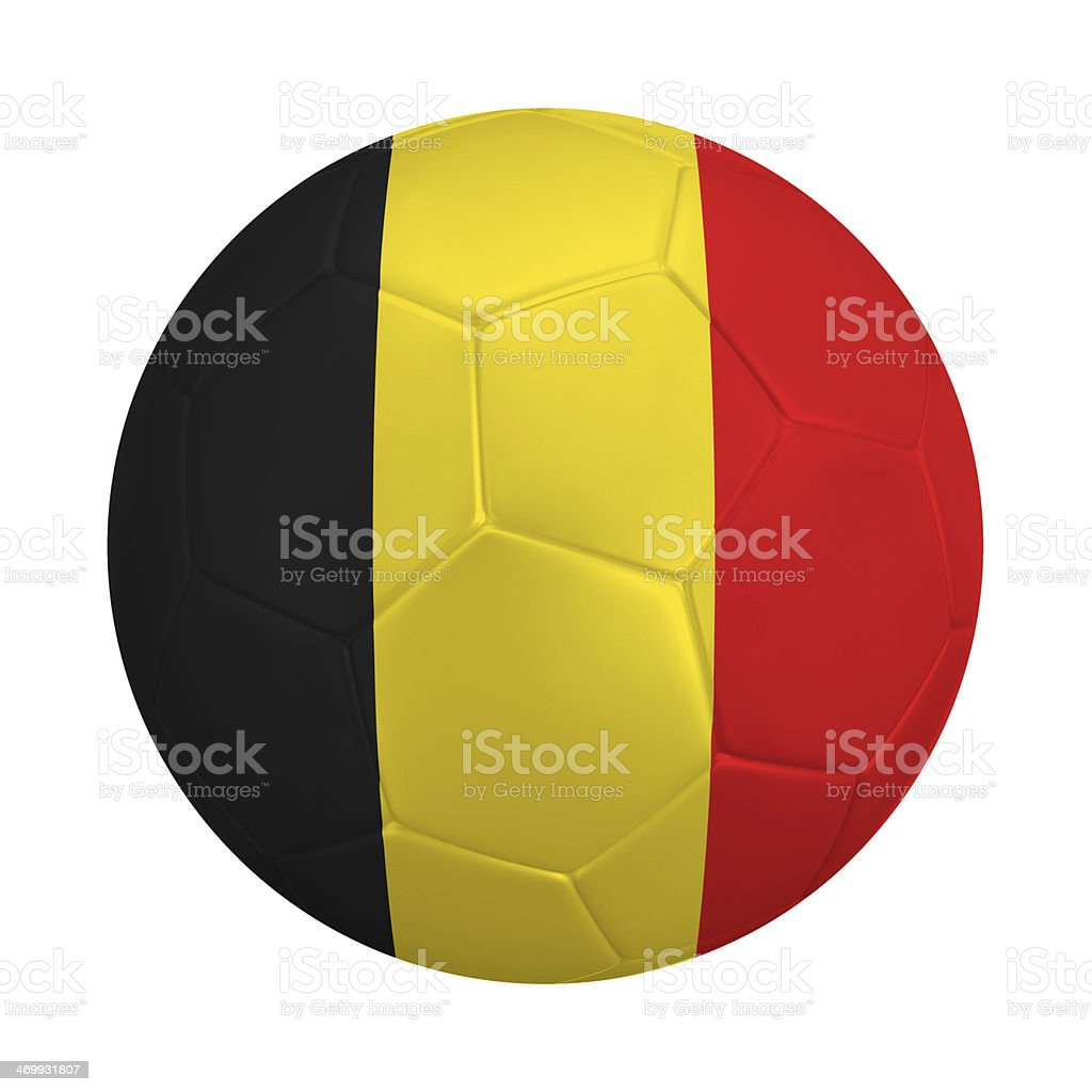Soccer ball with colors of  Belgian flag royalty-free stock photo