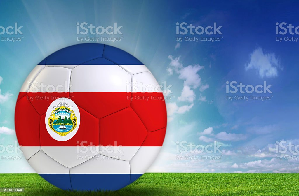 Soccer ball with Costa Rican flag stock photo