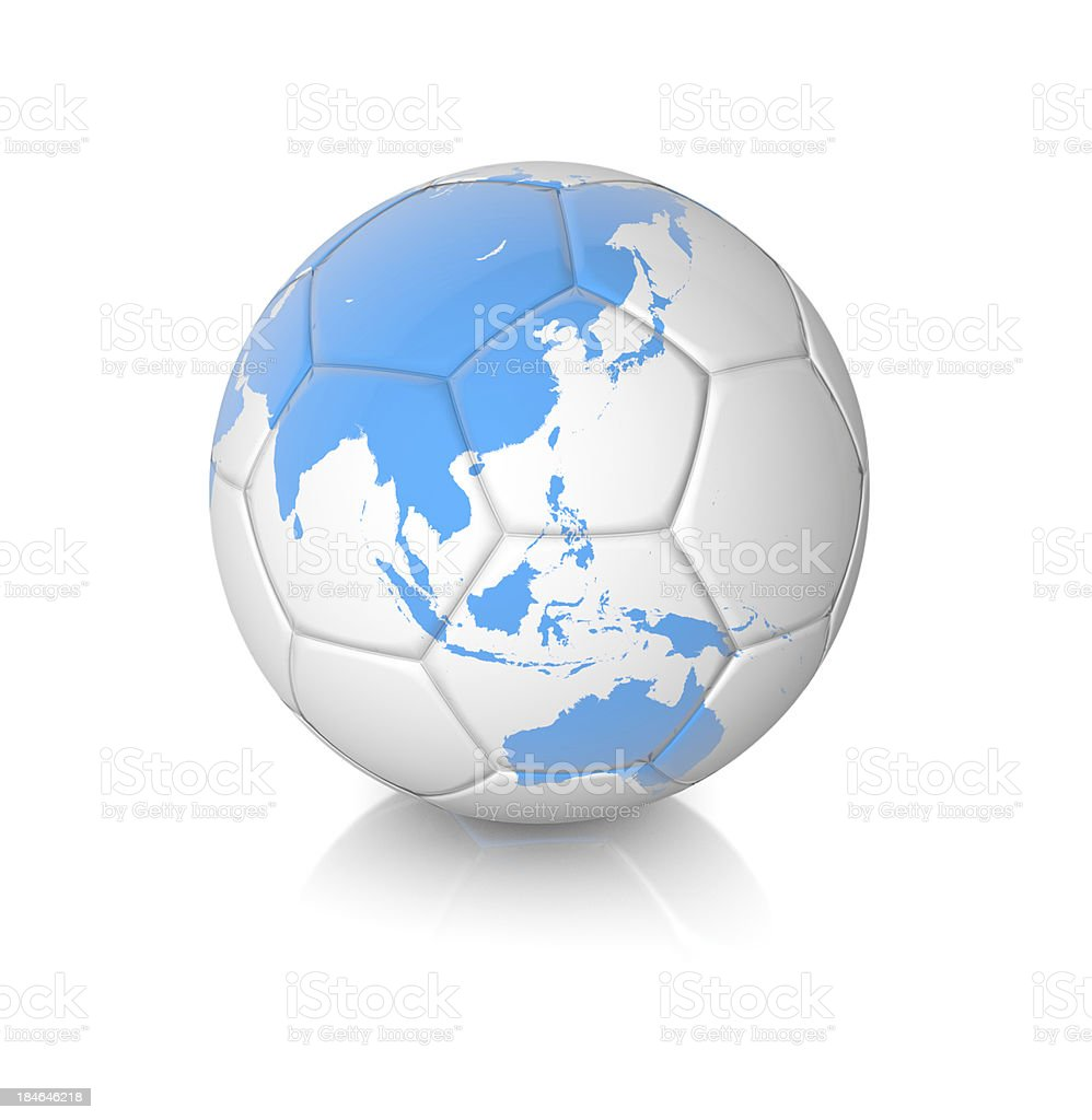 Soccer Ball with Earth Map royalty-free stock photo