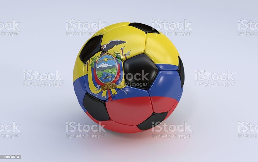 Soccer ball with Ecuador flag royalty-free stock photo