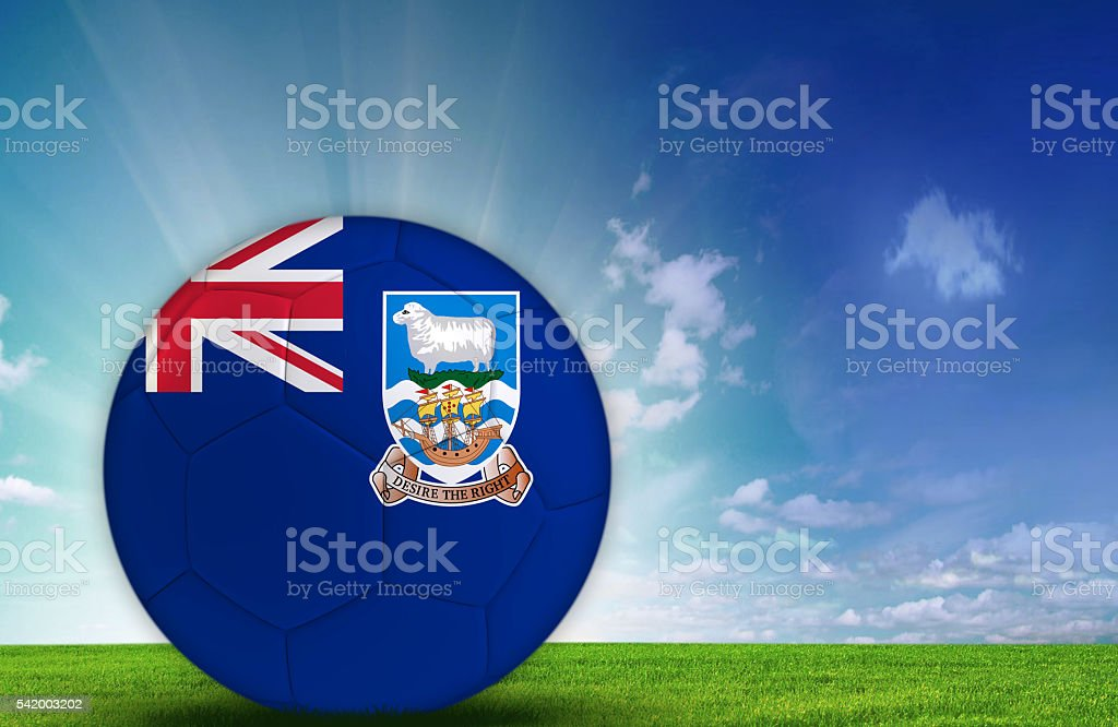 Soccer ball with Falkland Islands Flag stock photo