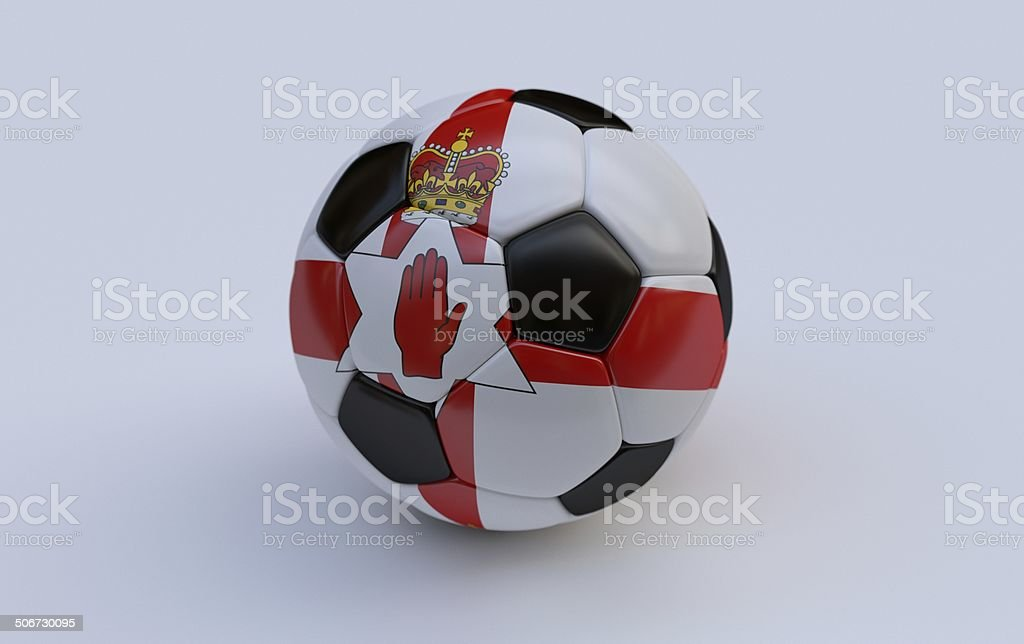 Soccer ball with flag of Northern Ireland royalty-free stock photo